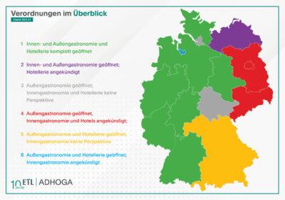 Infografik: Öffnungsstand der Gastronomie und Hotellerie in den Bundesländern/ ETL ADHOGA