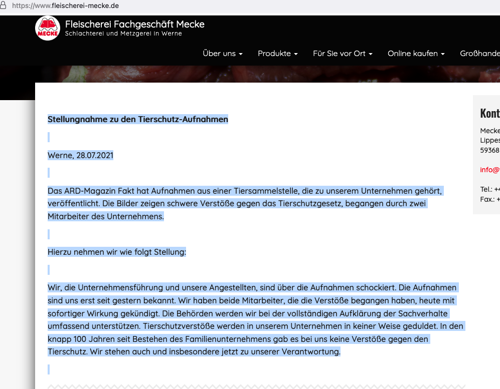 Stellungnahme von Fleischerei Mecke zur Dokumentation von Tierquälerei